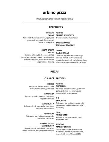 urbino pizza menu